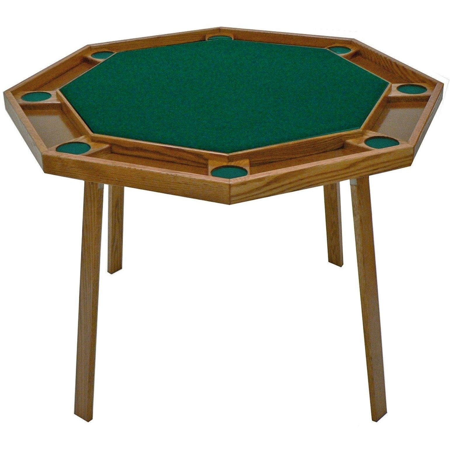 "Kestell 48"" Oak Octagon Folding Poker Table 8 Person - Gaming Blaze"