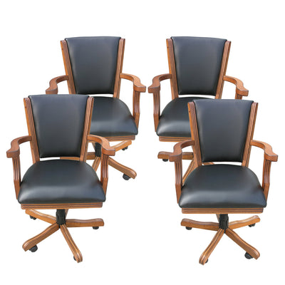 Hathaway Kingston Oak Swivel Poker Arm Chairs - Set of 4 - Gaming Blaze