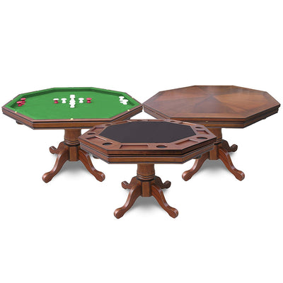 Hathaway Kingston Oak Octagon 3 in 1 Poker Table 8 Person - Gaming Blaze