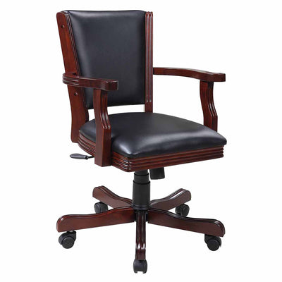 Hathaway Kingston Walnut Swivel Poker Arm Chairs - Set of 4 - Gaming Blaze
