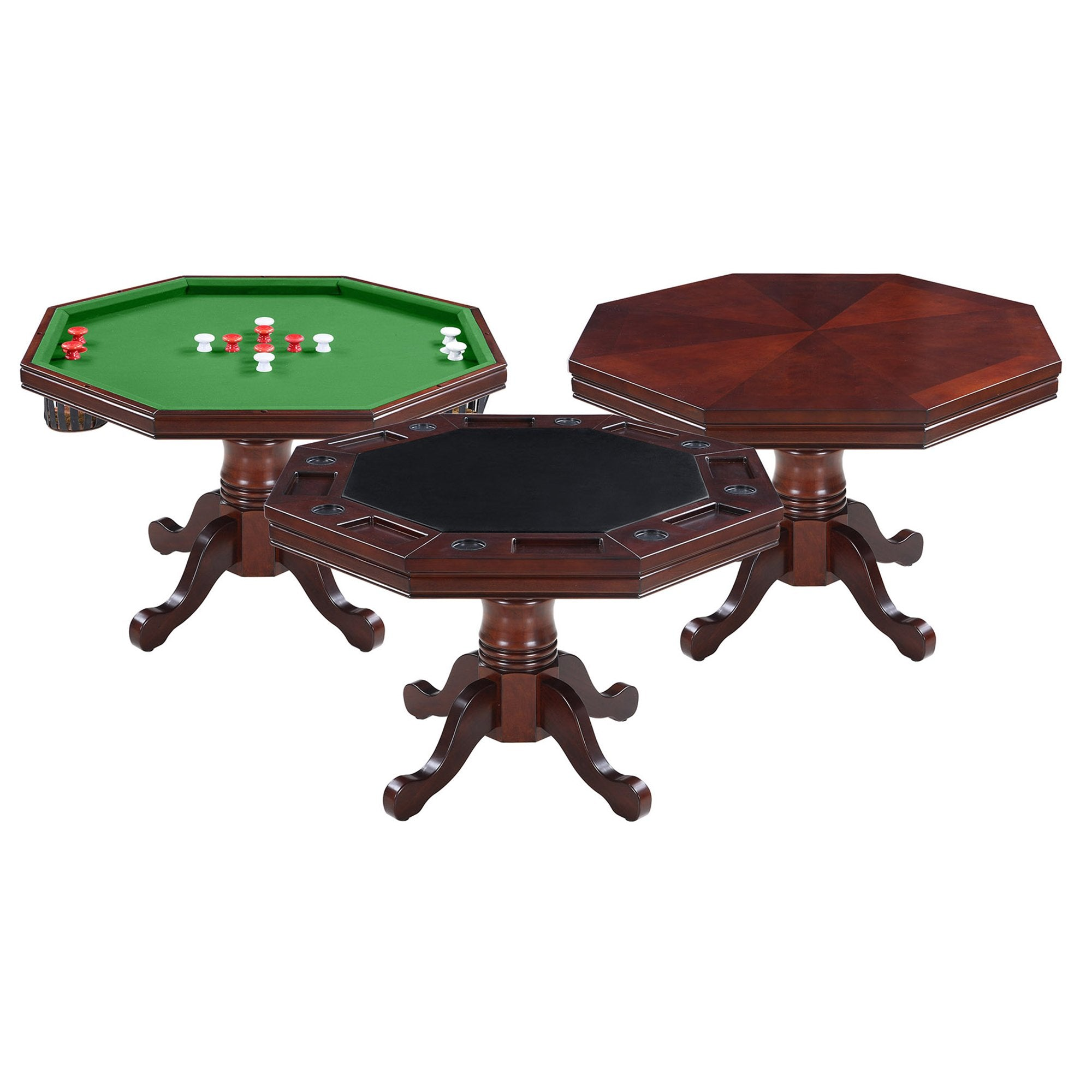 Hathaway Kingston Walnut Octagon 3 in 1 Poker Table 8 Person - Gaming Blaze