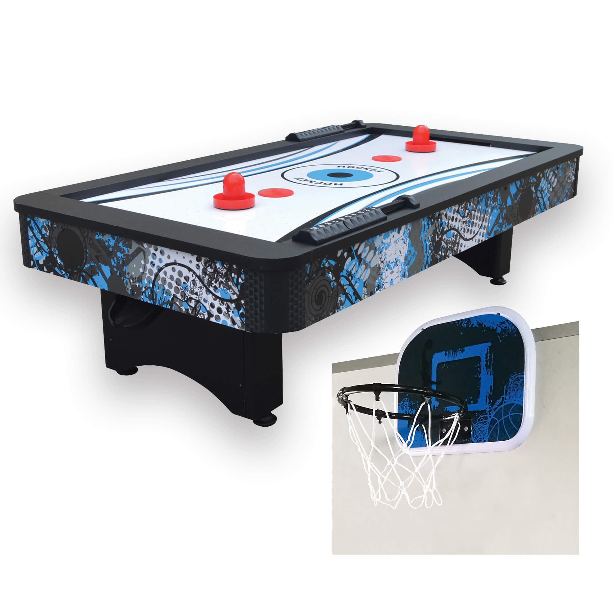 "Hathaway Crossfire 42"" Tabletop Air Hockey Table with Mini Basketball Game - Gaming Blaze"