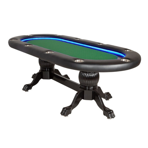 Image of BBO Poker Tables Elite Alpha LED Black Oval Poker Table 10 Person