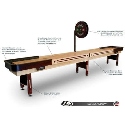 Grand Hudson Shuffleboard Table 9'-22' with Custom Stain Options - Gaming Blaze