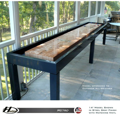 Hudson Shuffleboards Outdoor All-Weather Shuffleboard Upgrade with Sunbrella Table Cover - Gaming Blaze