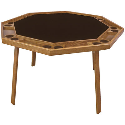 "Kestell 52"" Oak Octagon Folding Poker Table 8 Person - Gaming Blaze"