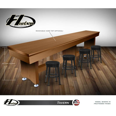 Hudson Tavern Shuffleboard Table 9'-22' Removable Hard Top and Custom Stain Options - Gaming Blaze