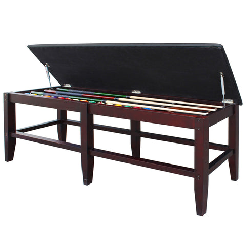 Hathaway Unity Rich Mahogany Finish Spectator Storage Bench - Game Tables