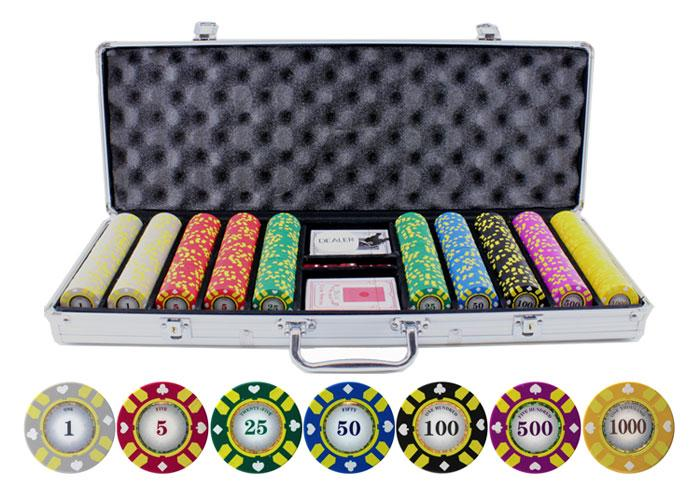 JP Commerce Stripe Suited V2 500 Piece Clay Poker Chip Set 13.5 gram - Gaming Blaze