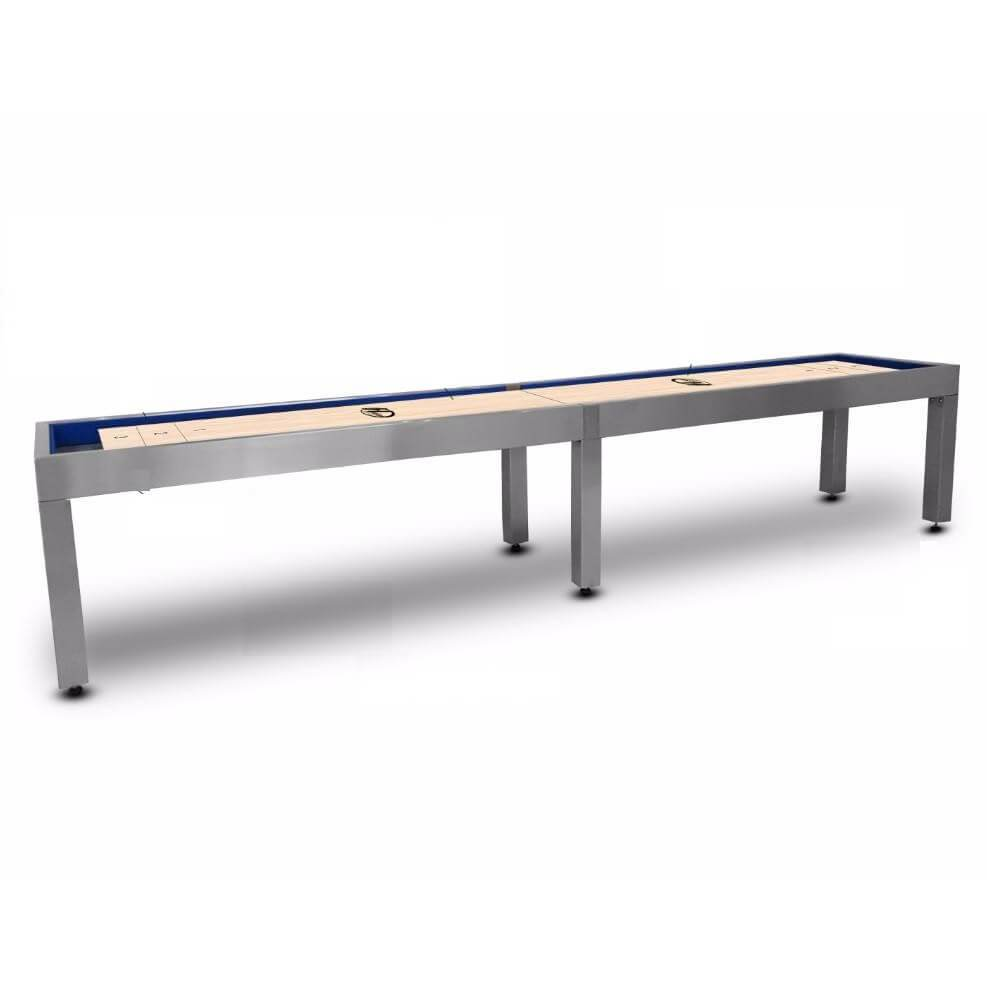 Hudson Brushed Stainless Steel Shuffleboard Table 9'-22' with Custom Finish Options - Gaming Blaze