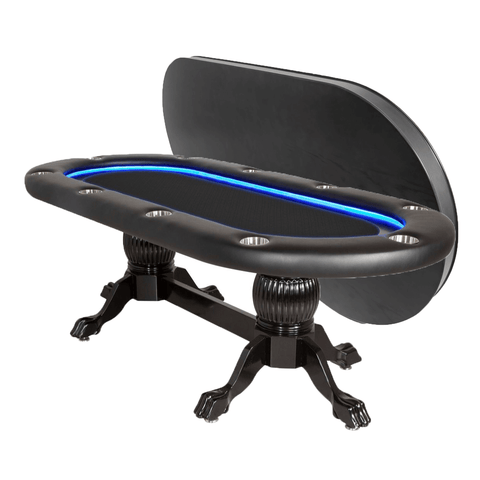 BBO Poker Tables Elite Alpha LED Black Oval Poker Table 10 Person