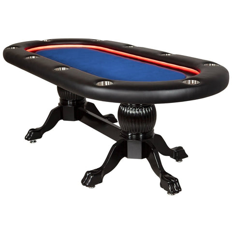 "Oval Poker Table - 10 Person Black Elite Alpha LED 94"" x 44"" by BBO - Gaming Tables"
