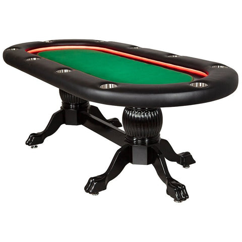 BBO Poker Tables Elite Alpha LED Black Oval Poker Table 10 Person - Game Tables