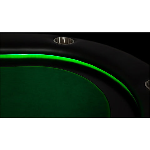 BBO Poker Tables Elite Alpha LED Black Oval Poker Table 10 Person - Gaming Blaze
