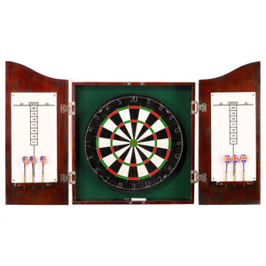 Hathaway Centerpoint Dark Cherry Dartboard Cabinet Set - Game Tables