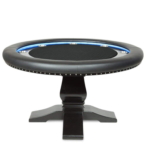 BBO Poker Tables Ginza LED Black Round Poker Table 8 Person - Gaming Blaze