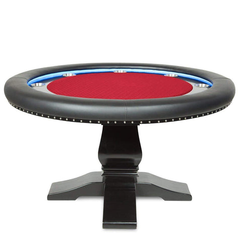 BBO Poker Tables Ginza LED Black Round Poker Table 8 Person - Game Tables
