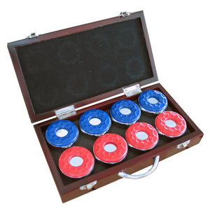 Hathaway Shuffleboard Pucks with Case Set of 8 - Game Tables