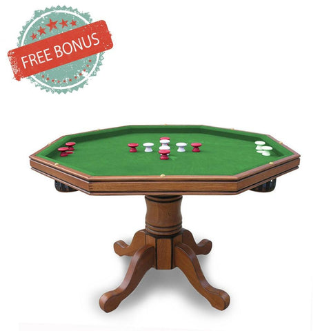 Hathaway Kingston Oak Octagon 3 in 1 Poker Table 8 Person - Game Tables