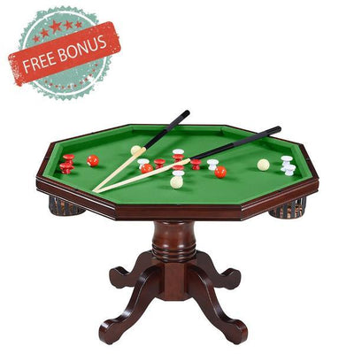 Hathaway Kingston Walnut 3 in 1 Poker Table Set with 4 Arm Chairs - Gaming Blaze
