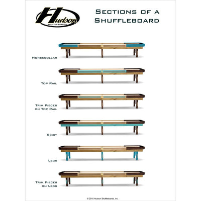Grand Hudson Deluxe Shuffleboard Table 9'-22' with Custom Stain Options - Gaming Blaze