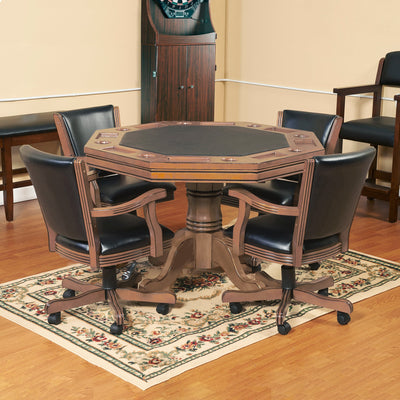 Hathaway Kingston Oak 3 in 1 Poker Table Set with 4 Arm Chairs - Gaming Blaze