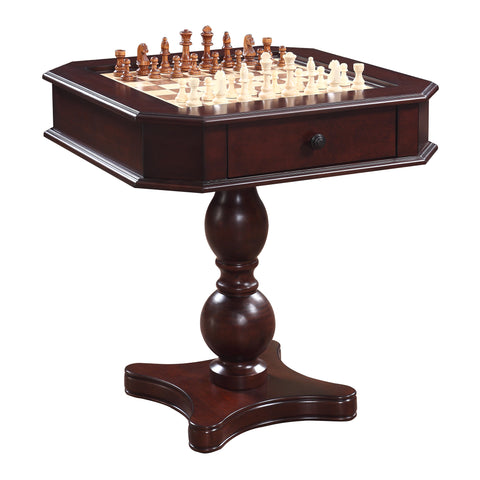 Hathaway Fortress 3 in 1 Mahogany Chess Game Table with Chairs  - Game Tables