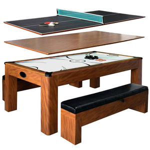 3 in 1 Game Table with Dining Top & Benches, Multi Game Table 7ft Sherwood by Hathaway - Gaming Tables