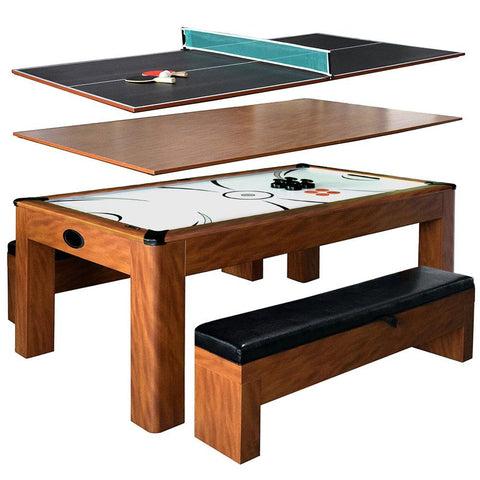 Image of Hathaway Sherwood 7ft Multi Game Table with Dining Top & Benches - Game Tables