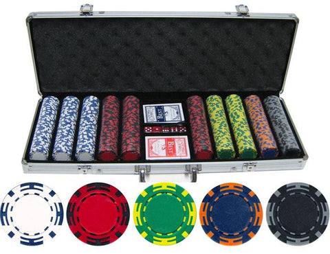JP Commerce Z Striped 500 Piece Clay Poker Chip Set 13.5 gram - Game Tables