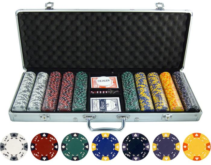 JP Commerce Ace King Tricolor 500 Piece Clay Poker Chip Set 13.5 gram - Gaming Blaze