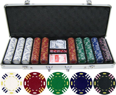 JP Commerce Triple Striped 500 Piece Clay Poker Chip Set 13.5 gram - Gaming Blaze