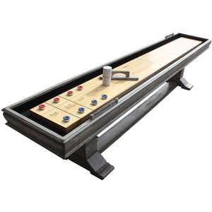 Shuffleboard Table 12ft - Indoor Shuffle Board Vintage Grey Montecito by Hathaway - Gaming Tables