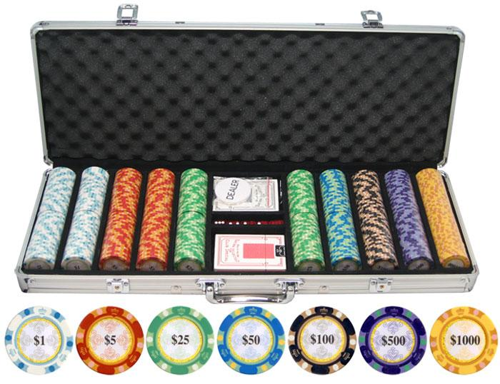 JP Commerce Monte Carlo 500 Piece Clay Poker Chip Set 13.5 gram - Gaming Blaze