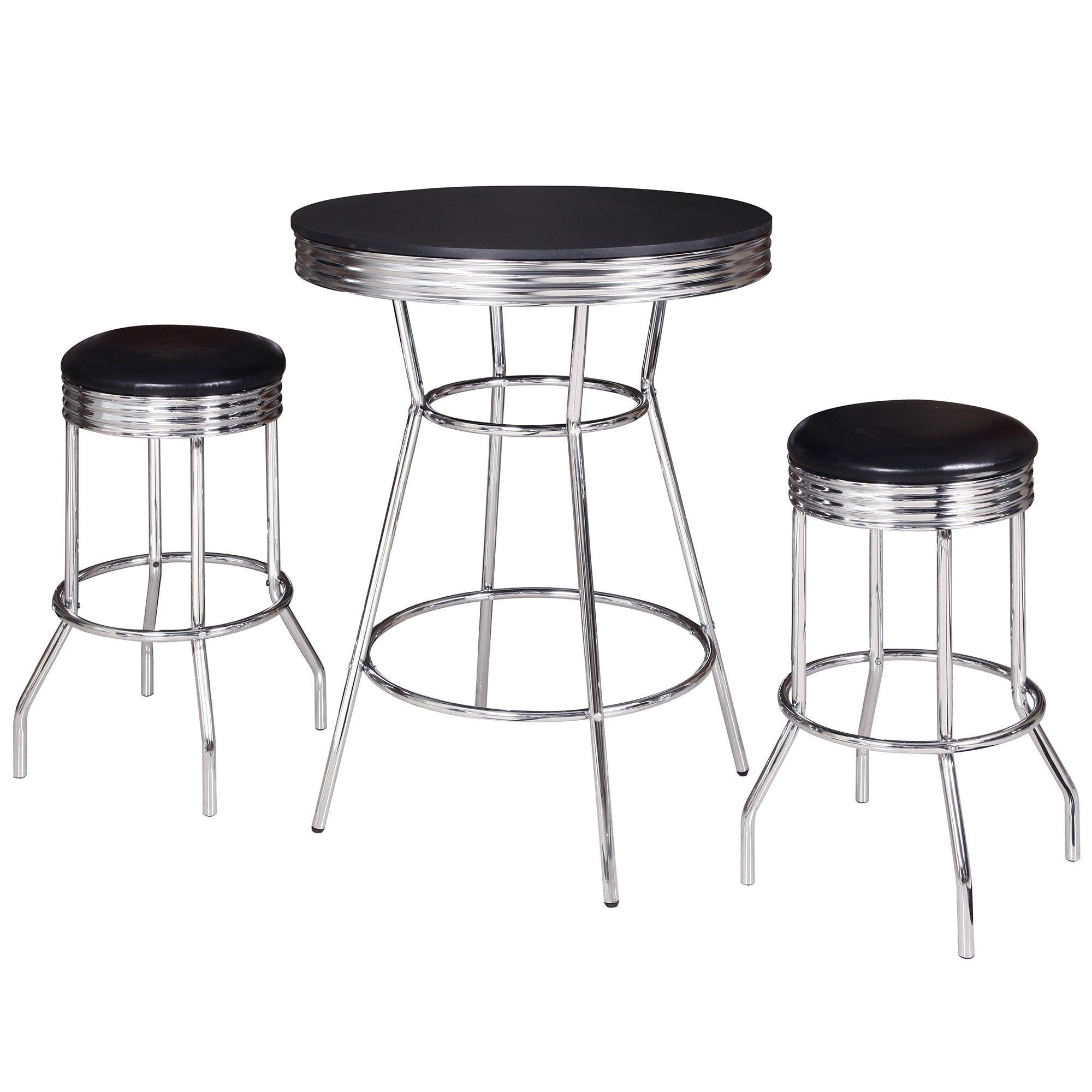 Hathaway Reminton Chrome and Black 3 Piece Pub Table Set - Gaming Blaze