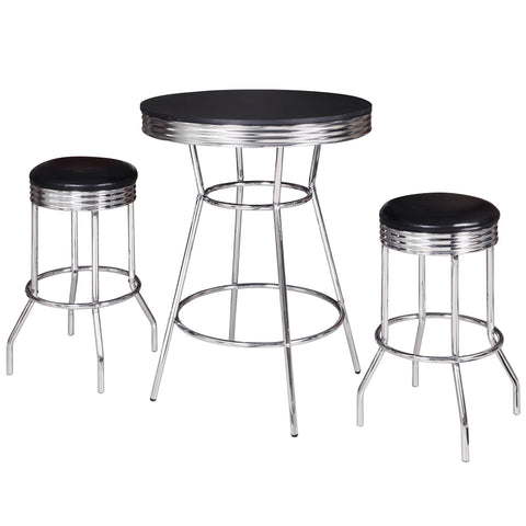 Hathaway Reminton Chrome and Black 3 Piece Pub Table Set - Game Tables