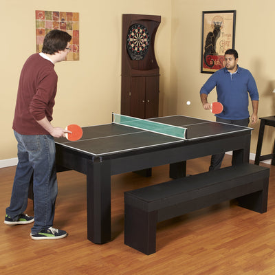 Hathaway Park Avenue 7ft Multi Game Table with Dining Top & Benches  - Gaming Blaze