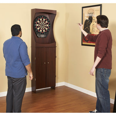 Hathaway Outlaw Free Standing Cherry Finish Dartboard Cabinet Set - Gaming Blaze