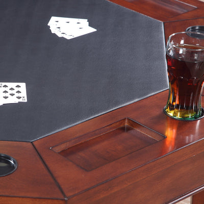"Hathaway Broadway Walnut 48"" Folding Poker Table Set with 4 Chairs - Gaming Blaze"