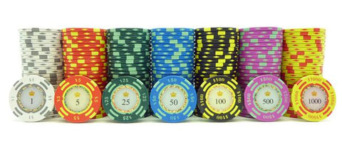 JP Commerce Crown Casino 500 Piece Clay Poker Chip Set 13.5 gram - Game Tables