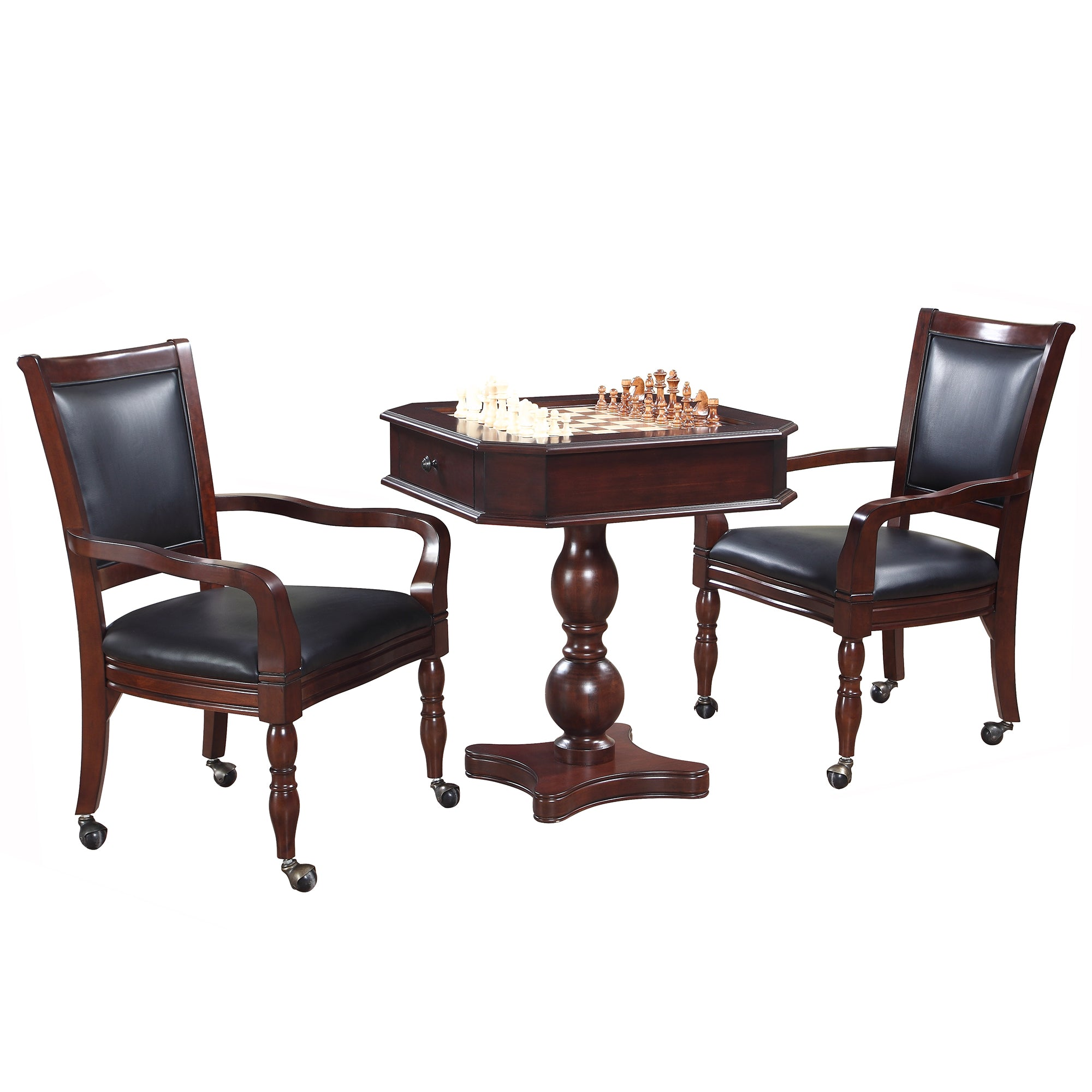 Hathaway Fortress 3 in 1 Mahogany Chess Game Table with Chairs  - Gaming Blaze