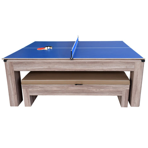 Hathaway Driftwood 7ft Multi Game Table 3 in 1 with Dining Top & Benches  - Gaming Blaze