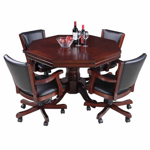 Hathaway Kingston Walnut 3 in 1 Poker Table Set with 4 Arm Chairs - Game Tables