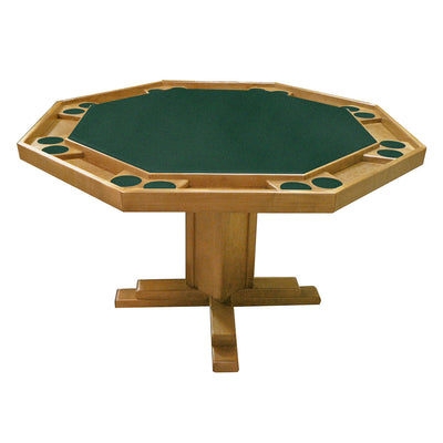 "Kestell 52"" Octagon Custom Poker Card Table Oak Wood 8 Person - Gaming Blaze"