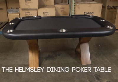 BBO Poker Tables Helmsley Poker Dining Table 8 Person with Dealer Spot - Gaming Blaze