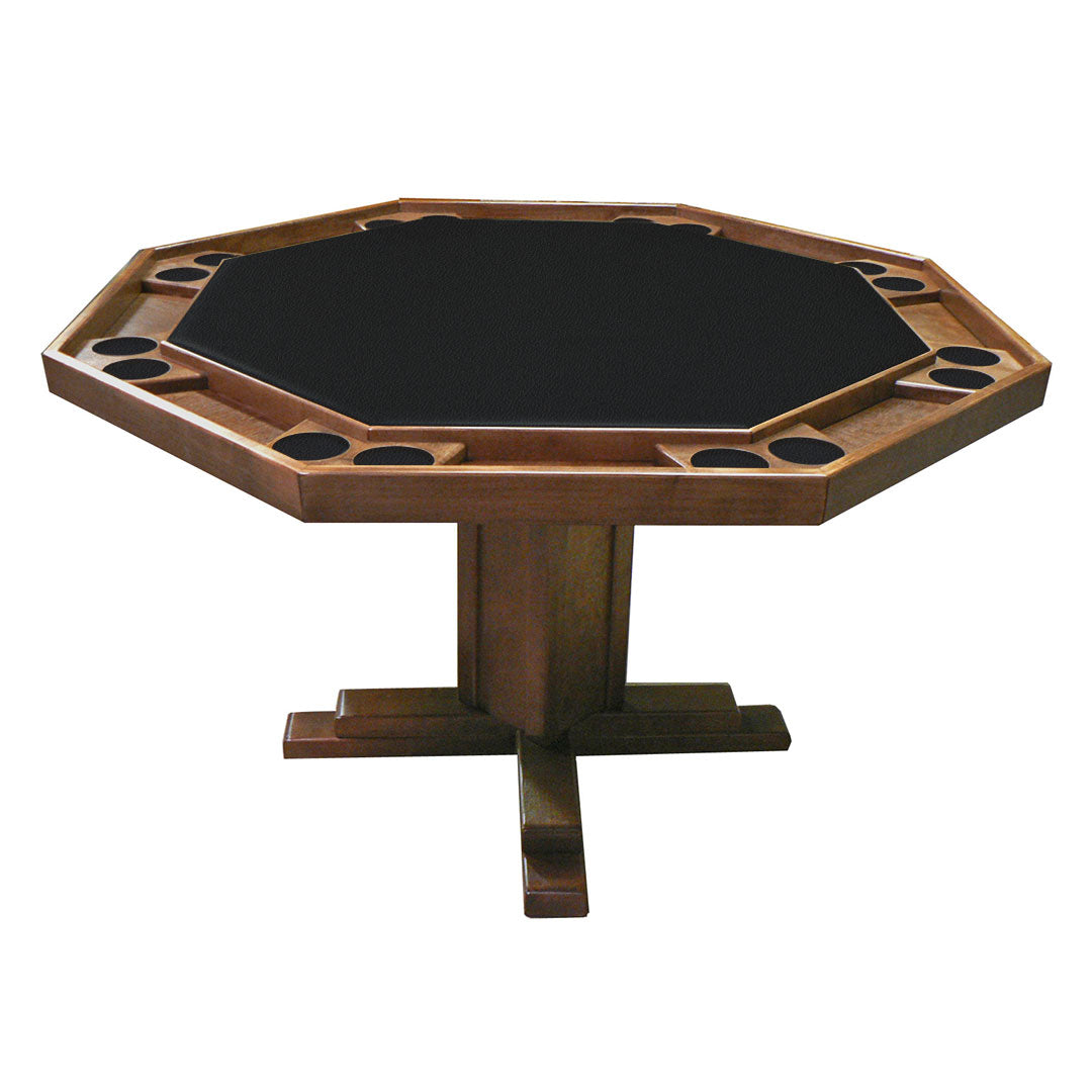 "Kestell 57"" Octagon Custom Poker Card Table Oak Wood 8 Person - Gaming Blaze"