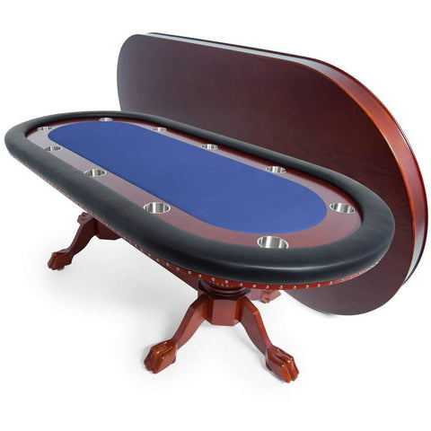 Image of BBO Poker Tables Rockwell Mahogany Oval Poker Table 10 Person - Gaming Blaze