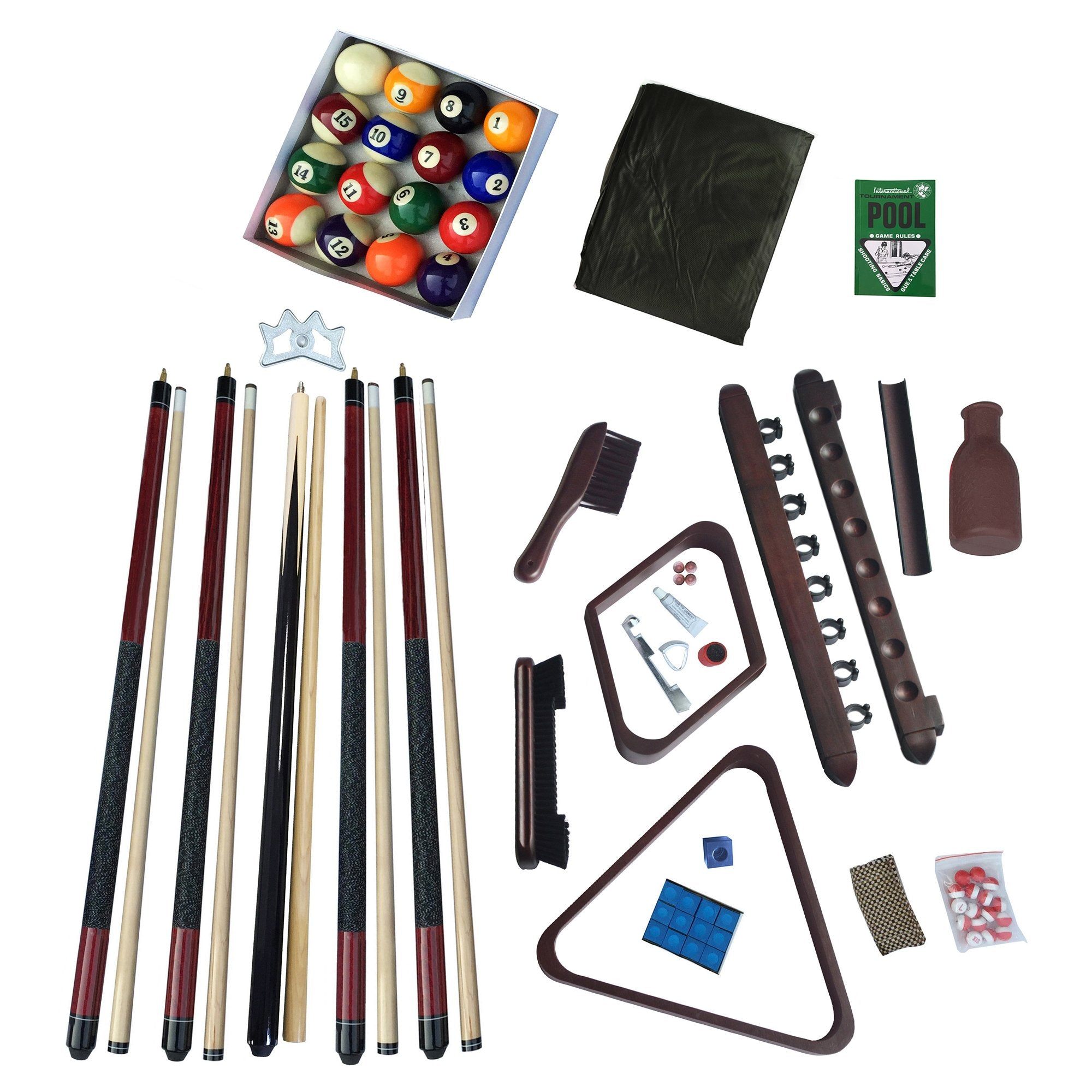 Hathaway Deluxe Billiards Accessory Kit Mahogany Finish - Gaming Blaze