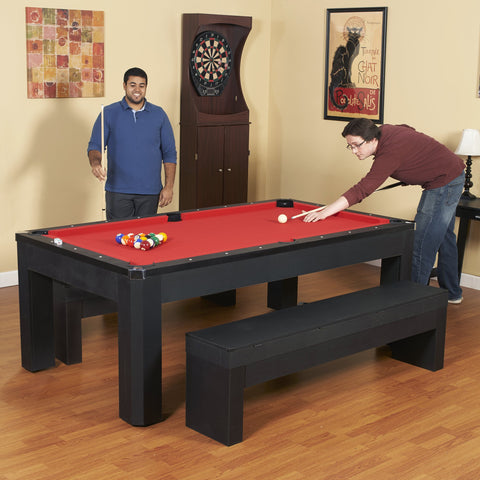 Hathaway Park Avenue 7ft Multi Game Table with Dining Top & Benches  - Game Tables