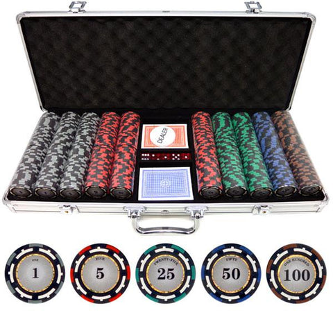 JP Commerce Z-Pro 500 Piece Clay Poker Chip Set 13.5 gram - Game Tables